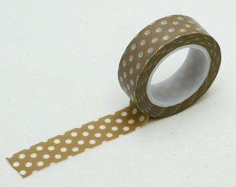 taupe Dots Washi Tape - coffee washi tape - planner washi tape - decorative tape - paper tape - craft supplies - Love My Tapes-LMT867