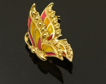 Enamel Pink and Yellow Butterfly Pin/ Brooch with Trembler Wing