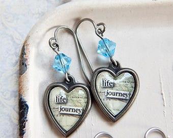 Life Journey - Inspirational earrings - heart earrings - blue crystal - charm earrings