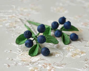 Navy Blue Wedding hair pin Spring Wedding hair piece Blueberry Floral accessory Woodland bridal accessories Boho hair pins Romantic wedding