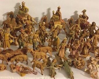 Lot Vintage Assorted Fontanini Depose Italy Roman Nativity Set Figures 1983 spider
