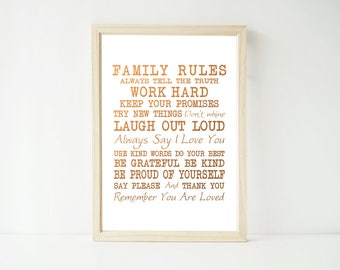 Real Foil Print -Family Rules Poster Prints, Home Decor Wall Art, Gold, Gopper, Silver