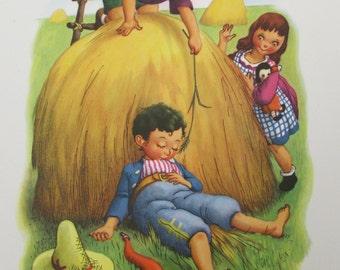 "Charming vintage nursery rhyme print ""Little Boy Blue"" from Mother Goose Nursery Prints by Penn Prints - nursery art"