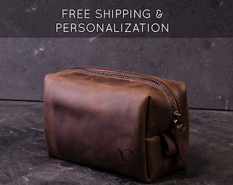 Personalized Father's Day Gift Leather Mens Travel Bag Toiletry Dopp Kit For Dad Father Godfather Wanderlust Gift For Husband Graduation