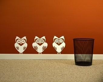 set of 3 unique owl vinyl wall decals