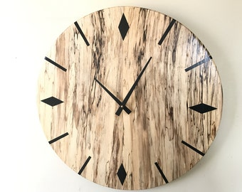 Modern Farmhouse Style Wall Clock -- Spalted Maple