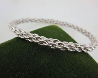 Silver Bangle Bracelet - Stack Bracelet, Mid Century Chain Bangle Costume Jewelry