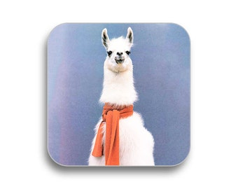 Llama scarf - drink coaster, birthday gift, coaster gift set, meme coaster, housewamring gift 2M015