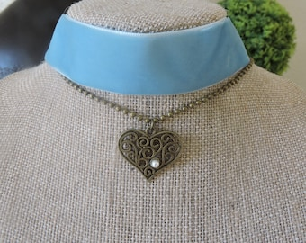 "1"" light blue velvet choker with drop down chain and heart pendant with pearl accent"