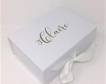 Personalised A5 Name White Box Boxes Customised Name Personalised Box Bridesmaid Bridal Box Bride To Be Box Groom Box Husband Box Wedding