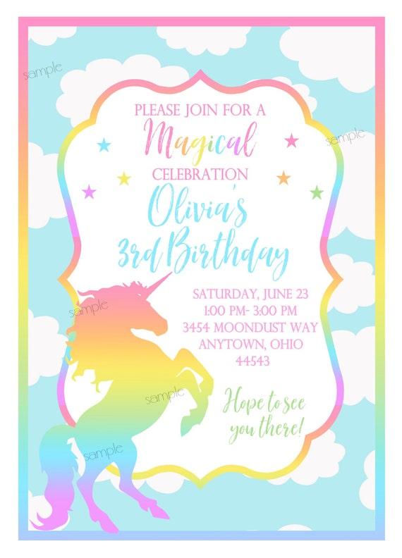 Pastel Unicorn Invitationsunicorn Birthday Party Unicorn