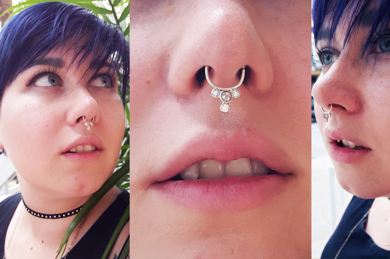 Pink Tourmaline, Clear Zirconia, Nose Ring, Septum, Sterling Silver ...
