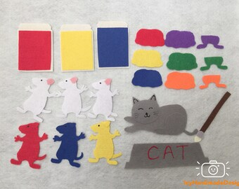 Mouse Paint Felt Board Story Set/Flannel Board/Preschool/Creative Play/Teaching Set/Color Theme/Circle Time/Creative Play/Teaching Resources
