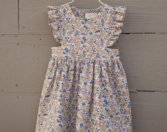 Girls Pinafore Dress / Toddler Pinafore Dress / Liberty of London Dress / Blue Pinafore Dress