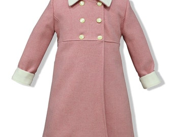Pale pink double breasted children wool coat, with ivory ornaments. Classic model children coat authentic sheep wool, elegant coat for girl