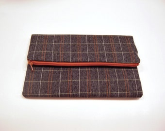 Plaid Fold Over Clutch in Gray, White and Orange