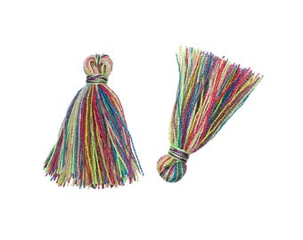 10 Boho Cotton Tassel Multicolor 20mm