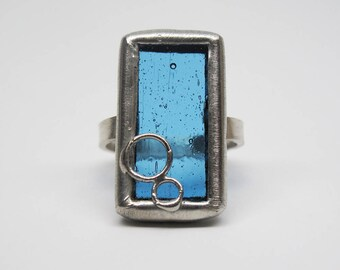 Blue Ice - Sterling Silver Stained Glass Ring - Size 8