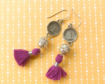 Vintage Silver Tone French Charm Purple Tassels Rhinestones Dangle Earrings Paris Eiffel Tower Boho Chic Glam Gypsy Repurposed Beaded