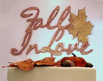 Fall Wedding Cake Topper, Fall In Love Wedding , Custom Wedding Cake Topper, Fall In Love Cake Topper, Wedding Keepsake, Fall Cake Decor