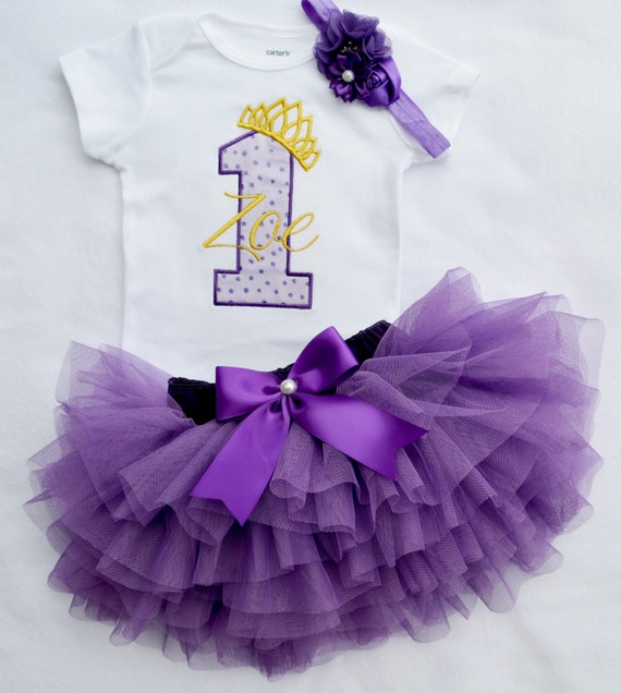 First Birthday Outfit Girlpurple And Gold Birthdayprincess