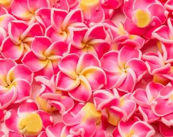 Hot Pink  Flower Beads, 20pcs, 15x8mm, Polymer Clay Beads  -B2197