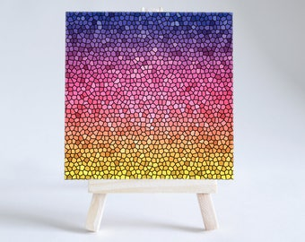 Stained Glass Effect Ceramic Coaster | Decorative Tile | Blue to Pink to Yellow |