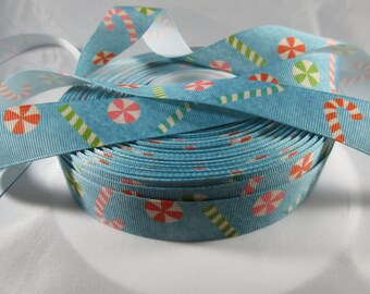 "Christmas candies, Candy cane, Christmas ribbon, Christmas craft supplies, Grosgrain Ribbon, 7/8"" Ribbon, RN14596"