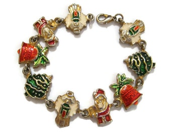 Christmas Charm Bracelet, Holiday Charms, Vintage Retro, Gift Idea