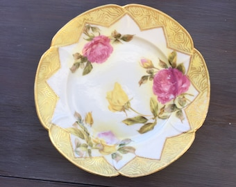 Gold with Yellow and Pink Roses Collectors Serving Plate - Vintage Roses a plate - Hand Painted Roses - Serving Decorative Plate