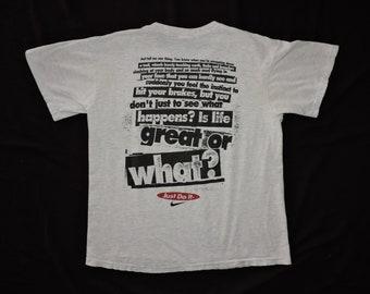 RARE Vintage 90s Mountain Biking Nike Swoosh T-shirt L USA Made