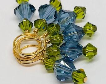 Stitch Markers - Denim Blue and Olivine Swarovski Crystal