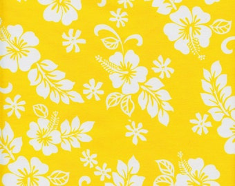 Hawaiian Hibiscus Flowers Cotton Fabric Trans-Pacific TKJ-02-206 Yellow, By the Yard