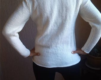 White sweater off white and gold thread, knit sweater, pullover in jersey criss-cross, unique Creation, sweater made in France, Made in France.