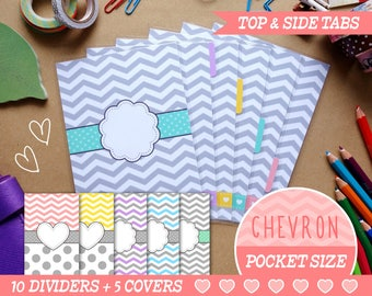 Pocket Size Chevron Dividers 5 Top Tabs, 5 Side Tabs, 5 Covers Filofax Pocket, Louis Vuitton PM, Kikki.K Small, Organizer Instant Download
