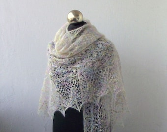 Light Pastel  multicolor hand knitted  mohair shawl with lace  pattern