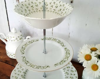 Three Tier Dessert or Hors d'oeuvre Trays, Forget Me Not Staffordshire Pattern!