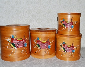 Vintage Wood Canisters ~ Kitchen Storage ~  Mid Century Bent Wood