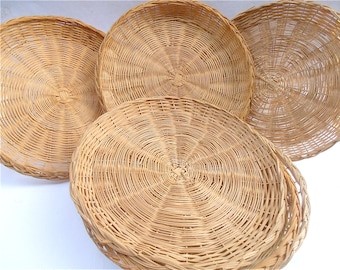 Vintage Rattan Paper Plate Holder Six 6 Round Woven Wicker Weave Natural Handmade Handicraft Table Picnic Reusable Recyclable Eco Friendly & Paper plate holder   Etsy