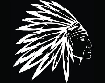 American Indian #13 Native Warrior Headdress Feather Tribe Chief Aztec Mascot Tattoo Logo .SVG .EPS .PNG Clipart Vector Cricut Cut Cutting