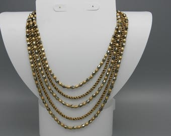 Vintage Crown Trifari Necklace Gold Tone Multi Strand Bib