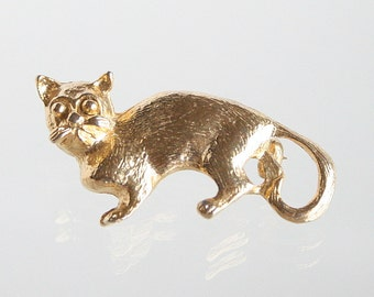 Vintage Grumpy Face Cat Pin Brooch Vintage Kitty Cat Figural Pin