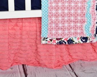 Light Coral Ruffle Crib Skirt - Coral Nursery Bedding - Pink Long Crib Skirt - Coral Bedskirt - Coral Crib Skirt - Girl Crib Skirt