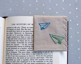 Hand Embroidered Linen Corner Bookmark - Paper Airplanes