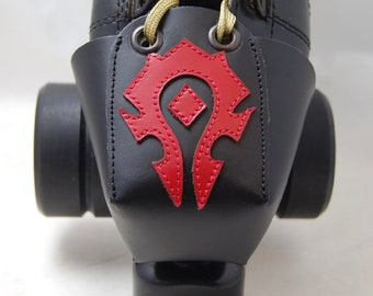 Leather Skate Toe Guards with a World of Warcraft Horde Symbol
