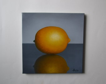 Original 10x10' acrylic lemon painting, small still life painting, yellow fruit artwork, kitchen painting, food painting, lemons reflection