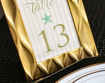 "Light Pink, Mint Green and Gold, Beach Wedding Table Numbers, Summer Wedding Decor, Beach Reception - ""Starfish and Shell"" Table Numbers"