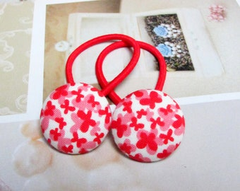 Handmade Kawaii White Red Japanese Butterflies Animal Children Girl Fabric Button Ponytail Holder Elastic Hair Ties Girly Gifts Butterfly