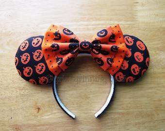 Halloween Minnie Mouse Ears - Orange Jack-o-lanterns on Black