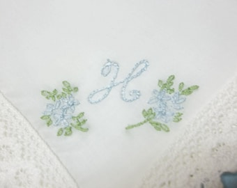 Bride's something blue, personalized wedding hankderchief, hand embroidery, monogram, bouquet wrap, bride hanky, bridal gift, favor